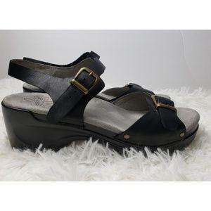 Sanita Black Leather Clogs Sandals Size 9, EUR 39